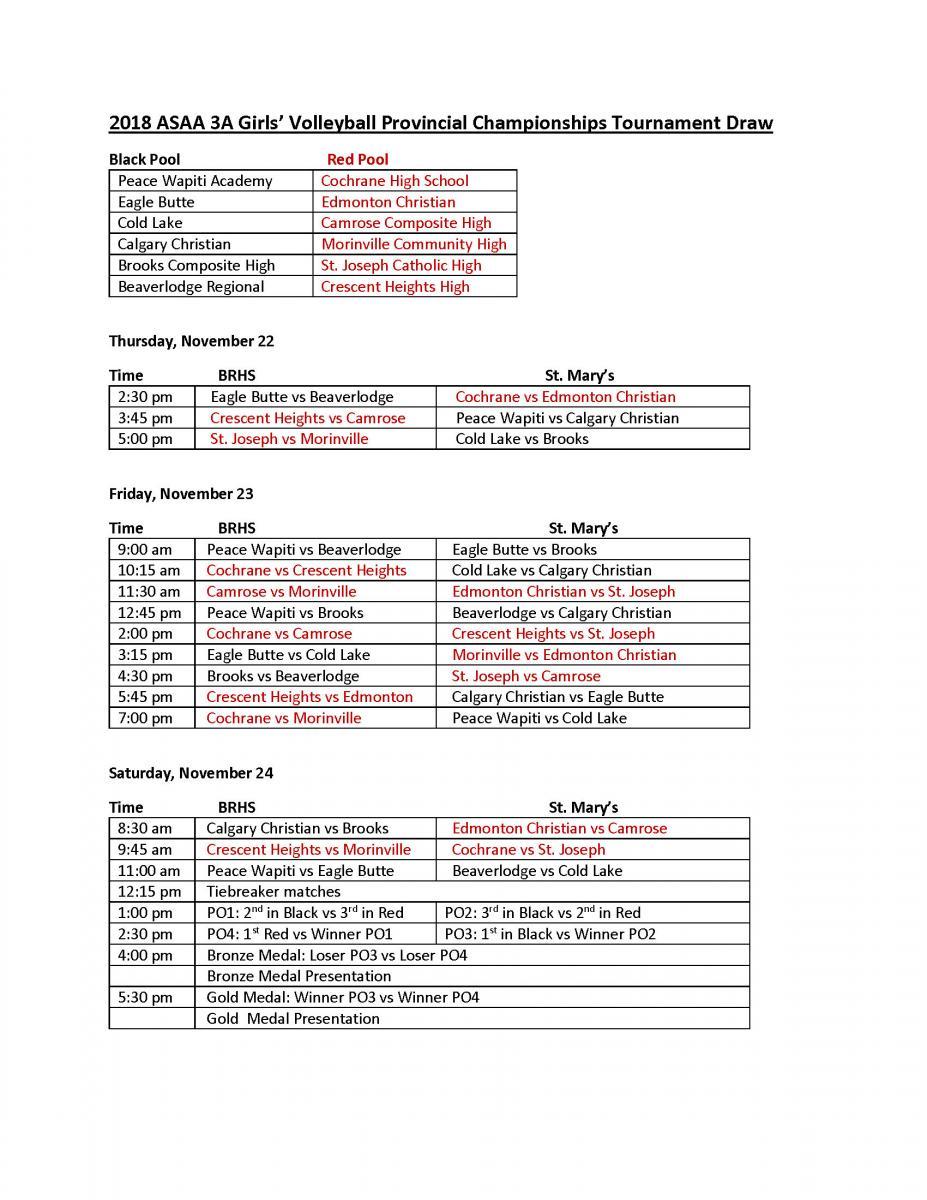 TOURNAMENT DRAW | Alberta Schools' Athletic Association