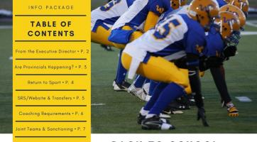 Cover of ASAA Newsletter. Contains information and a photo of a football team in alignment